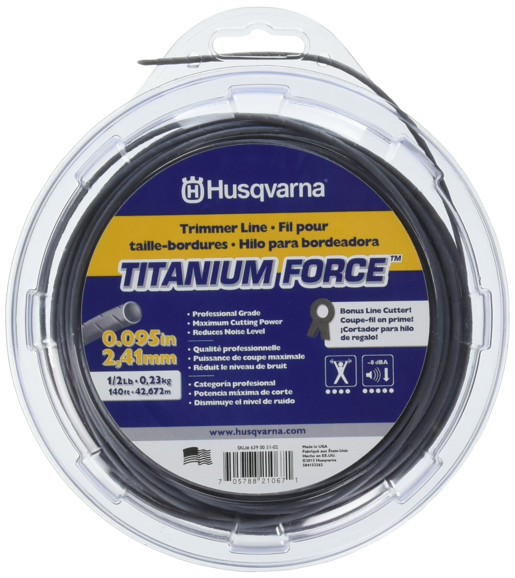 Husqvarna 639005102 Titanium Force String Trimmer Line .095-Inch by 1/2-Pound Donut by Husqvarna
