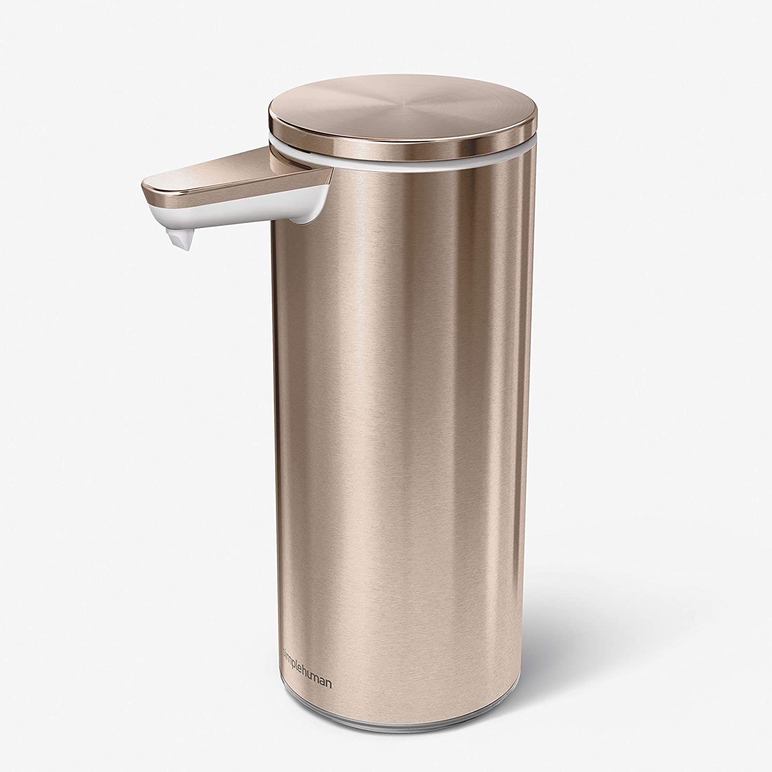 simplehuman ST1046 266ml Automatic Hand Motion Liquid Soap Dispenser, Rechargeable, Variable Dispense, No-drip Valve, IP67 Waterproof, Rose Gold High-Grade Stainless Steel