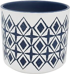 "Amazon Brand – Rivet Mid-Century Diamond-Patterned Stoneware Planter, 6.5""H, Blue and White"