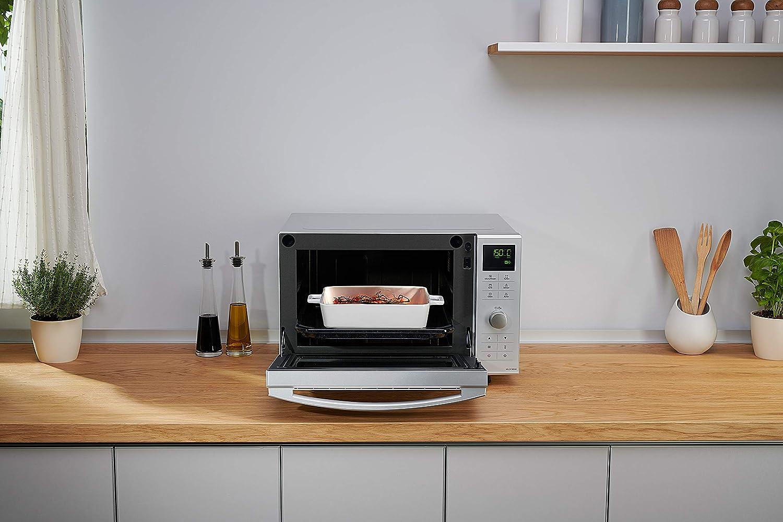 Microondas Horno con Grill Combinado Plateado 1000 W, 23 L, 6 niveles, Inverter, Grill 1000 W, 100-220/ºC,  16 modos,  recubrimiento antiadherente sin plato Panasonic NN-DF385