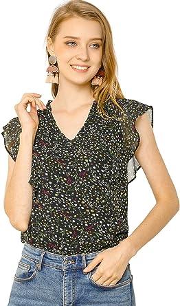 Women Fashion Casual Floral Printed Tops Loose V Neck Polka Dot Bubble Long Sleeve Shirt