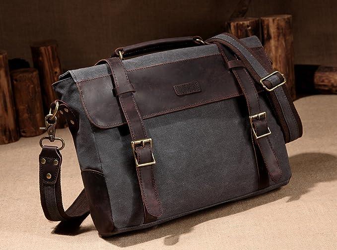 Vaschy sac messager en cuir cartable vintage sac à