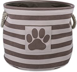 Bone Dry DII Pet Toy and Accessory Storage Basket for Home Décor & Everyday Use, Marrón (Round Striped Brown)