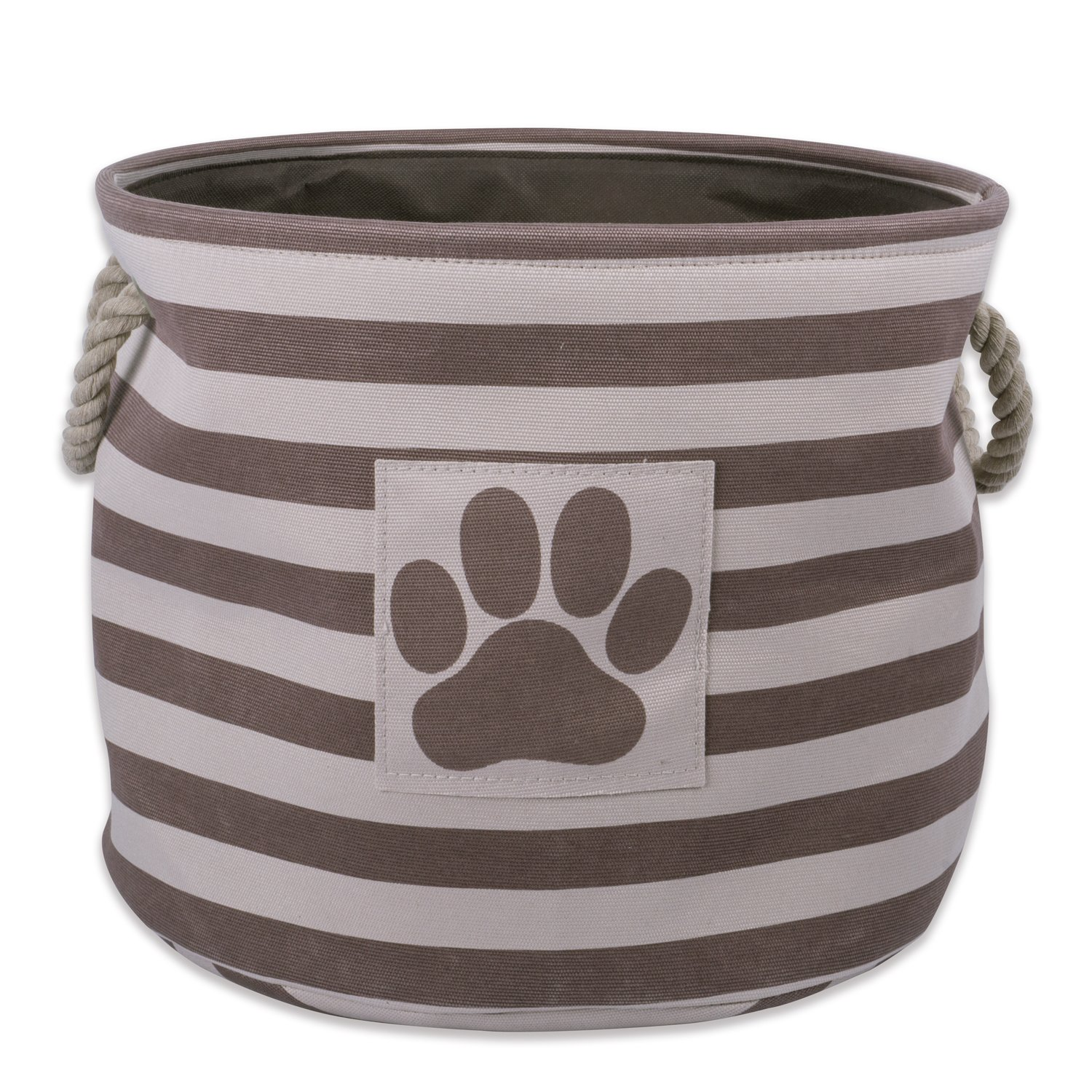 Bone Dry DII Small Round Pet Toy and Accessory Storage Bin, 12''(Dia) x9(H), Collapsible Organizer Storage Basket for Home Décor, Pet Toy, Blankets, Leashes and Food-Brown Stripes