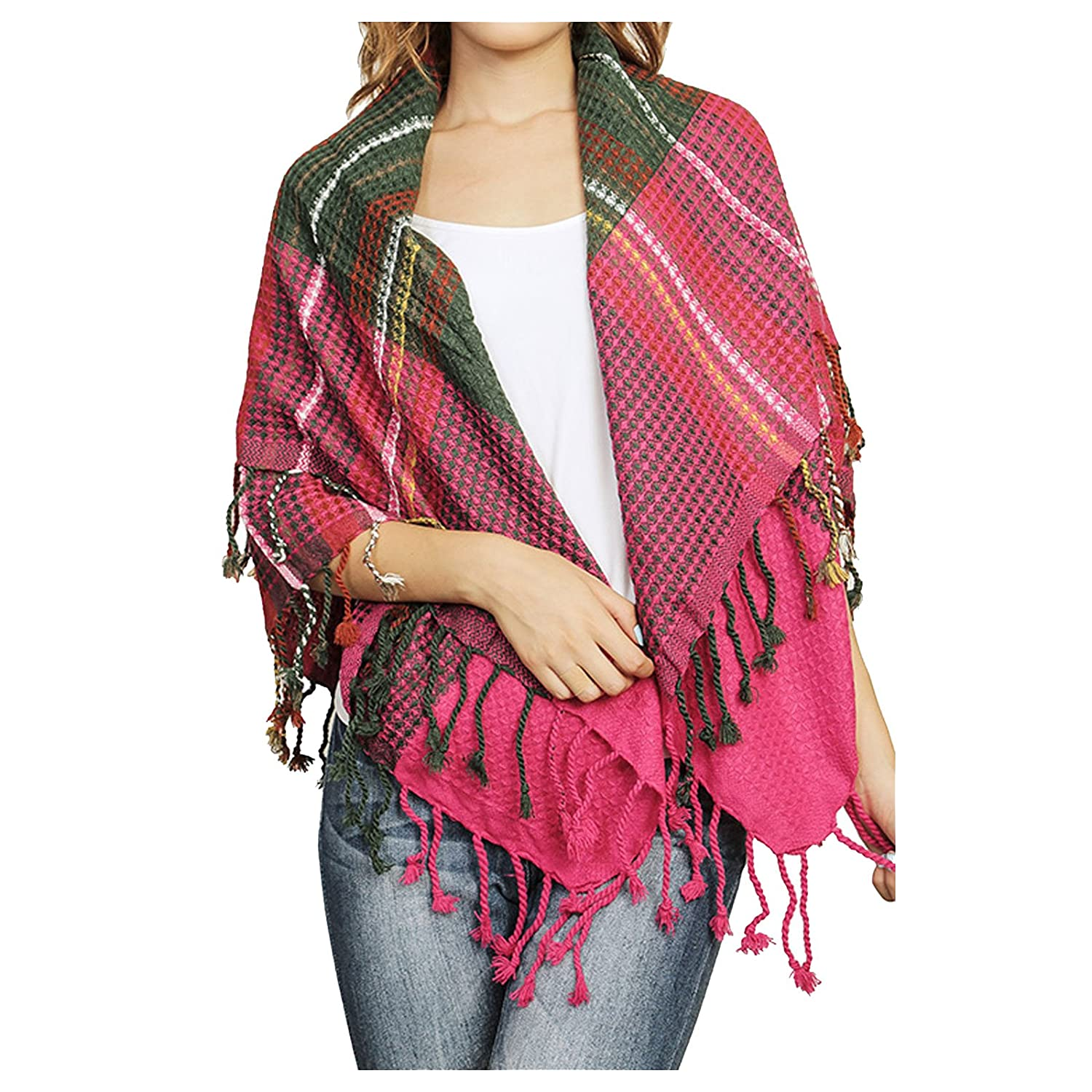 Women's Multi Color Waffle Knit Fringed Scarf