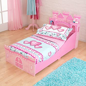 KidKraft Princess Castle Toddler Bed And Table Combo Set In Pink Color