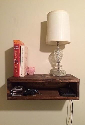 Amazon floating bedside table rustic nightstand barn wood floating bedside table rustic nightstand barn wood style bedside table wall shelf watchthetrailerfo