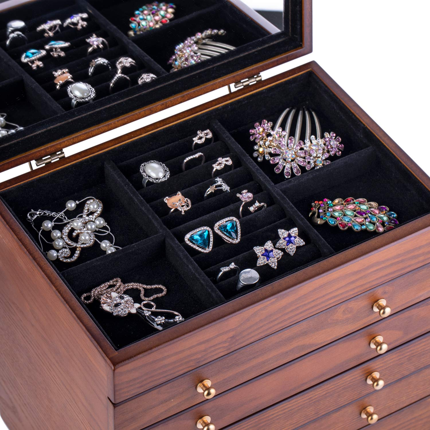 ROULING Extra Large Wooden Jewelry Box/Jewelry Armoire ...