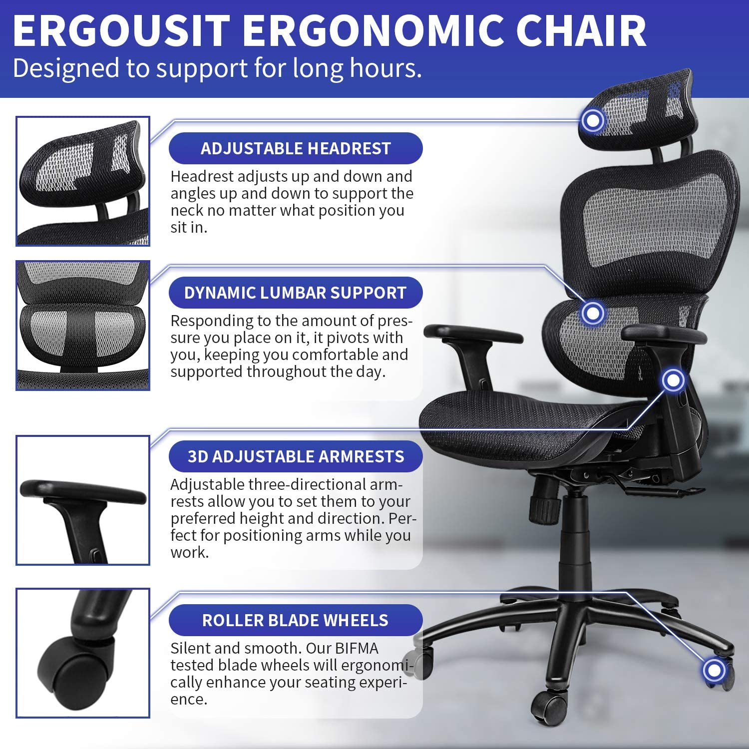 Ergousit Ergonomic Office Desk Chair Adjustable Headrest 3D Flip-up Armrests Seat Height Ergonomic Computer Chair,Executive, Drafting, Gaming or Office Chair (Black): Kitchen & Dining