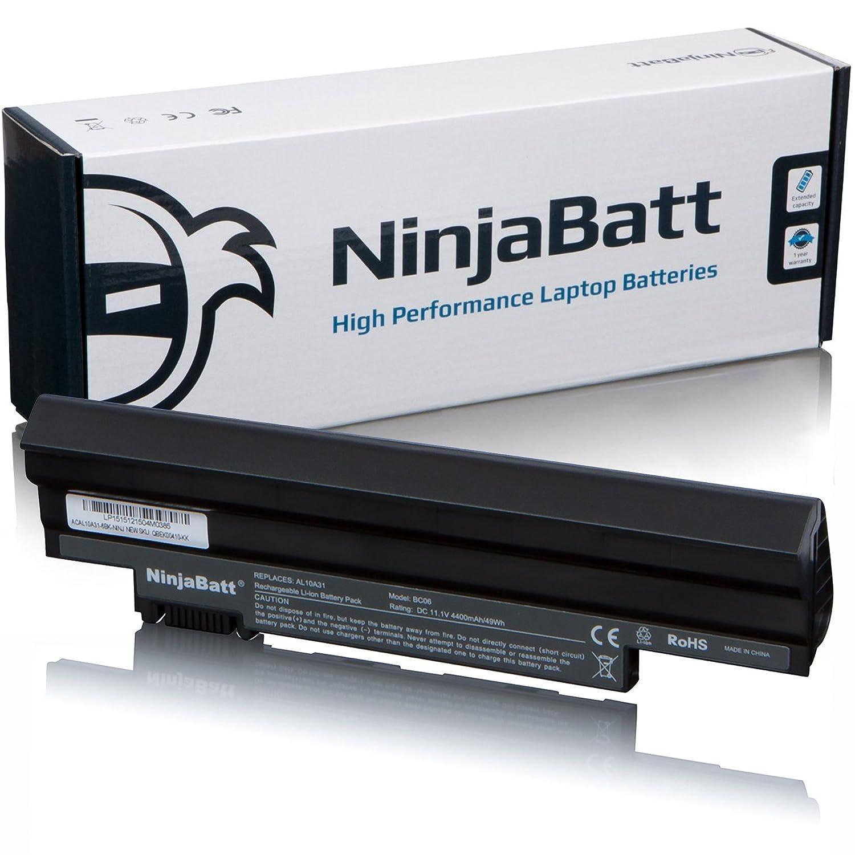 NinjaBatt Batería para Acer AL10A31 AL10B31 Aspire One D255 D257 D260 D270 522 722 AL13C32 AL10G31 AOD255 AOD257 AOD260 AOD270 BT.00603.121 ...