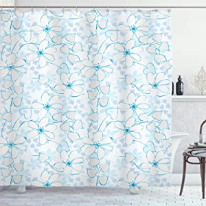Ambesonne Blue Shower Curtain, Abstract Flowers with Heart Shaped Leaves Romantic Fresh Beauty in Nature, Cloth Fabric Bathroom Decor Set with Hooks, 70