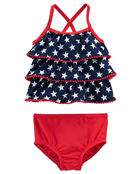 5ad895bf94c62 Carter's Baby Girls' Tankini American Flag Swimsuit (Red/White/Navy Blue)