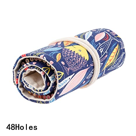 Amazon.com : 1pc Canvas School Pencil Case 48 Holes Roll Sketch ...