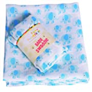 Muslin Baby Swaddle For Longer Sleep. Multi Use Cotton Baby Swaddling Blanket, Wrap, Nursing, Car Seat Cover. Blue Elephants For Boys, Baby Shower, Christmas Gifts.