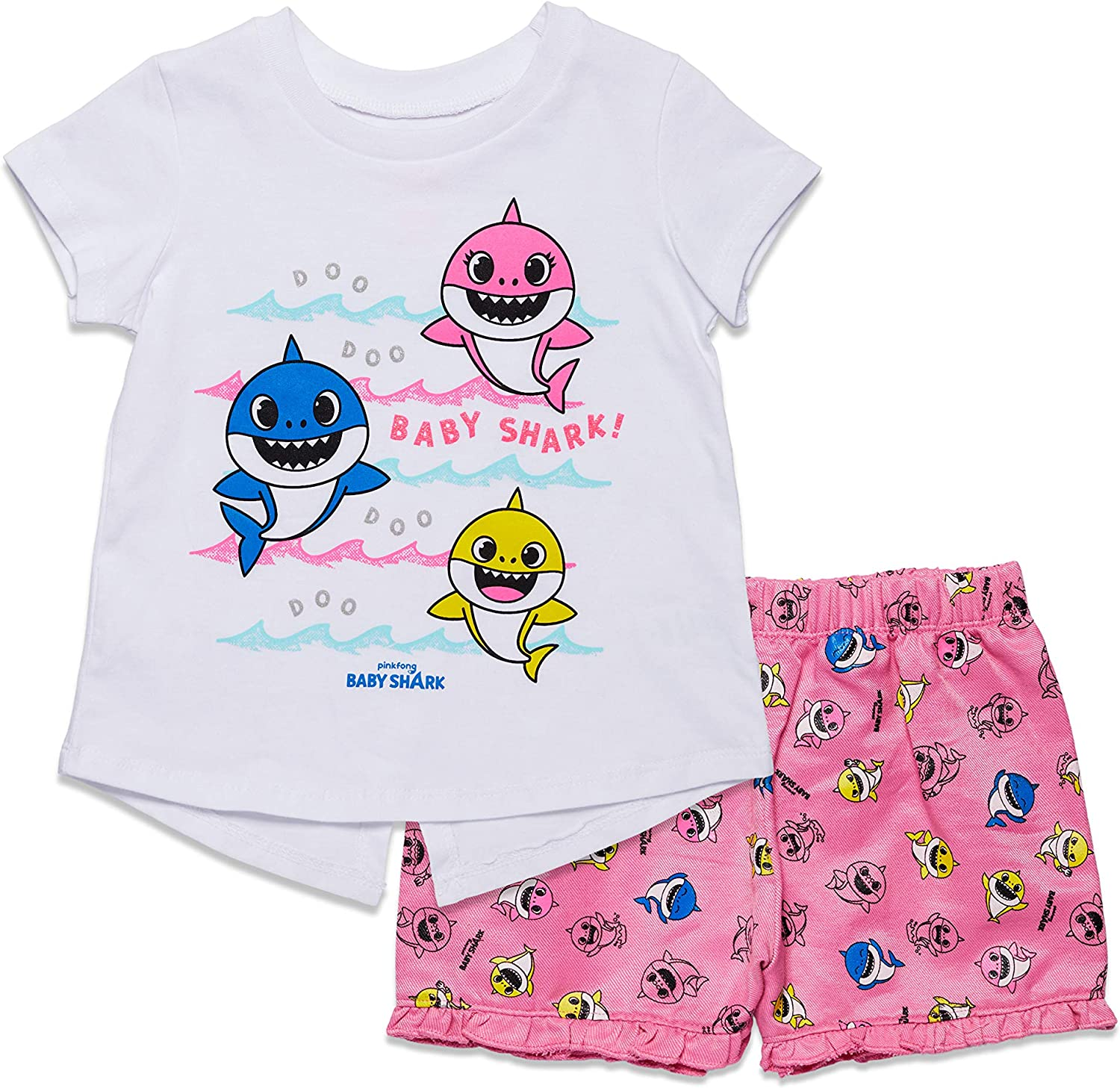 Pinkfong Baby Shark Girls Short Sleeve T-Shirt & Shorts Set