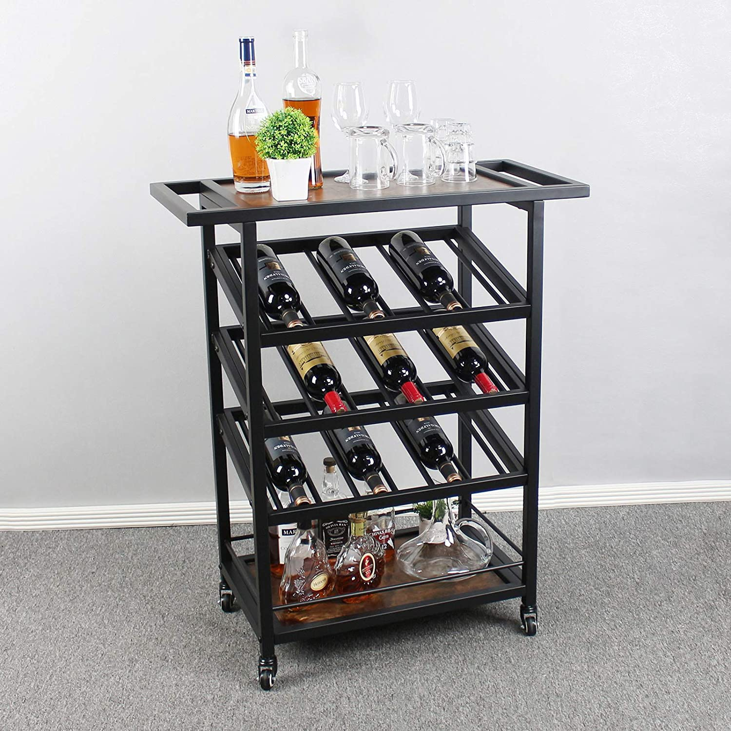 Wine Rack Free Standing Wine Holder Display Shelves with Wheels for The Home,Wine Bar Cabinet with Storage, Brown