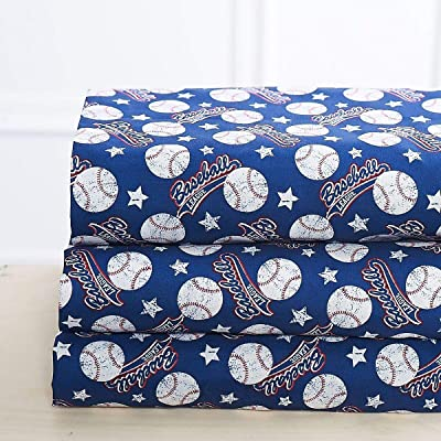 Elegant Homes Blue White Red Baseball League Sports Design 4 Piece Printed Sheet Set with Pillowcases Flat Fitted Sheet for Boys/Kids/Teens # Baseball (Queen Size): Home & Kitchen