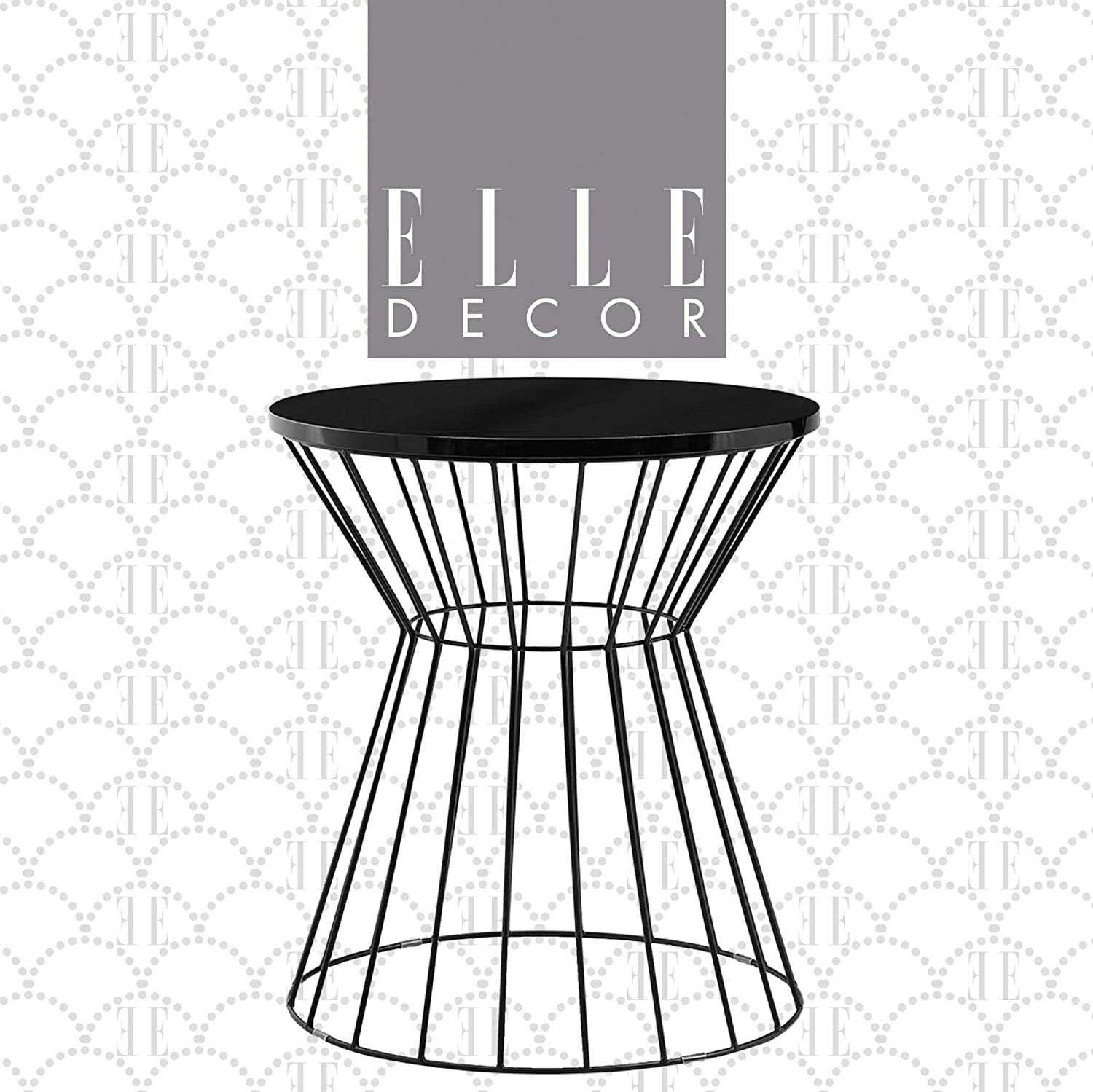 Elle Decor Lulu Round Hourglass Metal Side Table, Small Modern Accent Nightstand for Living Room, Black