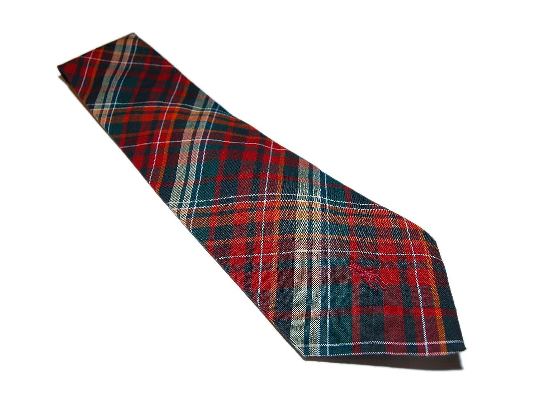 Polo Ralph Lauren Mens Cotton USA Casual Neck Tie Plaid Stripe Orange Green Red