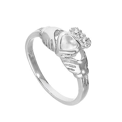 Sterling Silver & Moonstone June Birthstone Claddagh Ring Sizes I - U Lnft0
