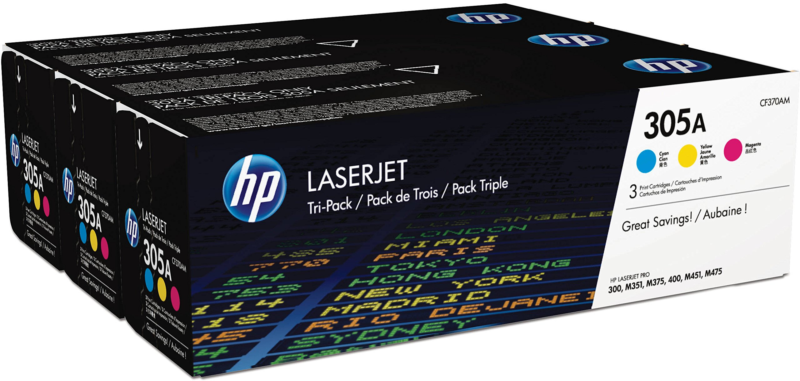 HP CF370AM 305A Cf370A-M Original LaserJet Toner Cartridges Pack Of 3 Cyan Magenta Yellow