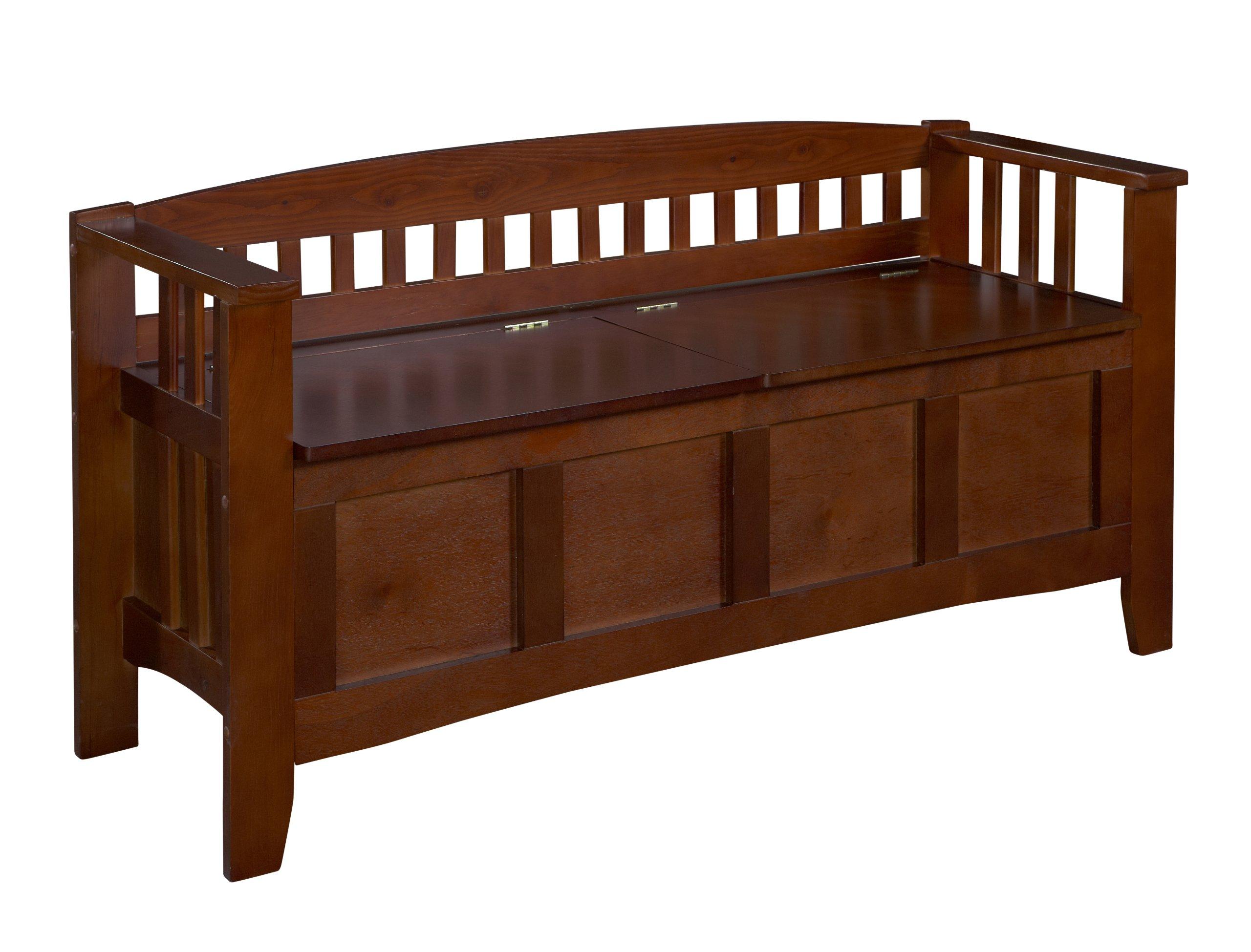 Linon Home Decor Storage Bench with Short Split Seat Storage, Walnut by Linon Home Dcor