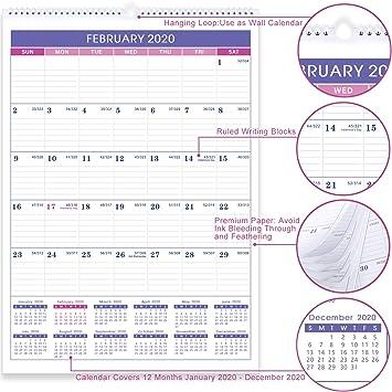 Calendario 2020 - Calendario Planificador de Pared Mensual 2020 ...