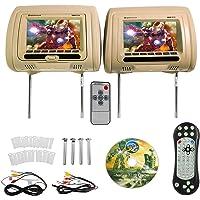 "Rockville RDP711-BG 7"" Beige Car Headrest Monitors w/DVD Player/USB/HDMI+Games"