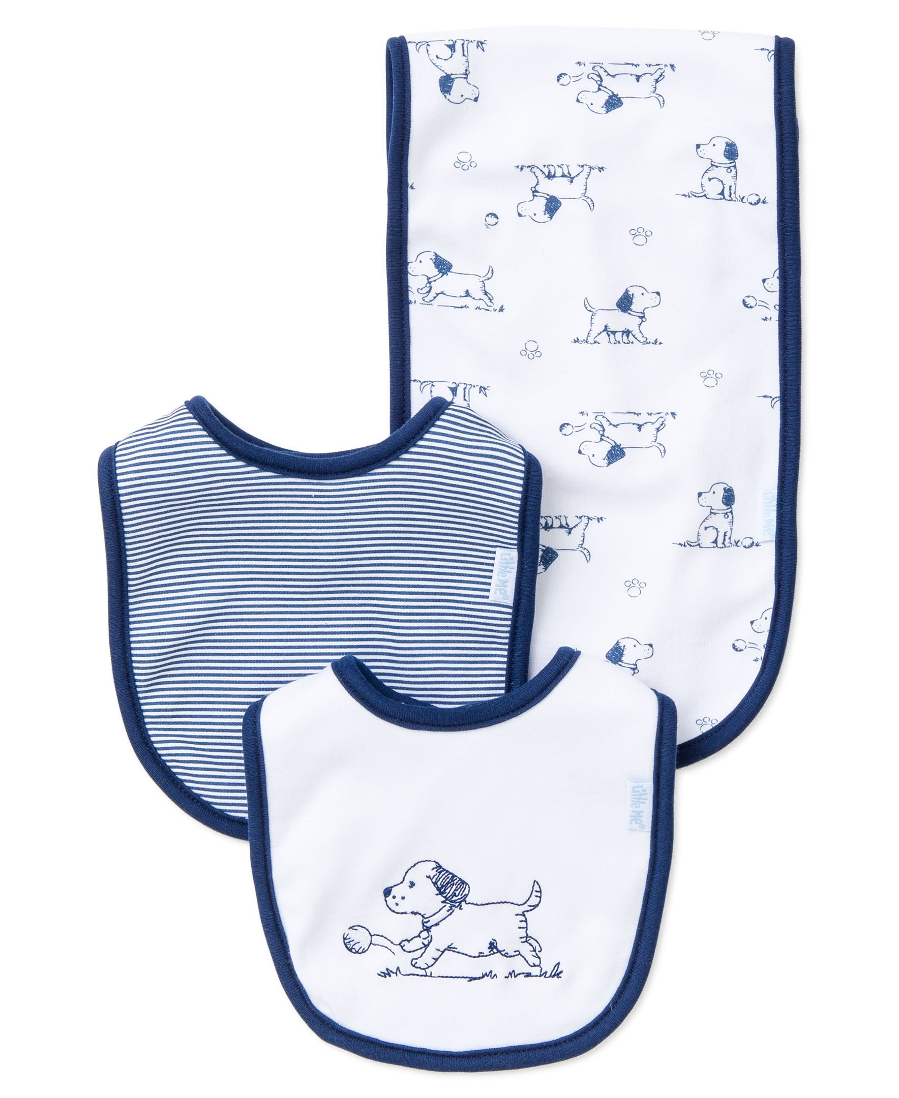 Little Me Baby Boy Newborn Bib and Burp set,  White Print,  One Size