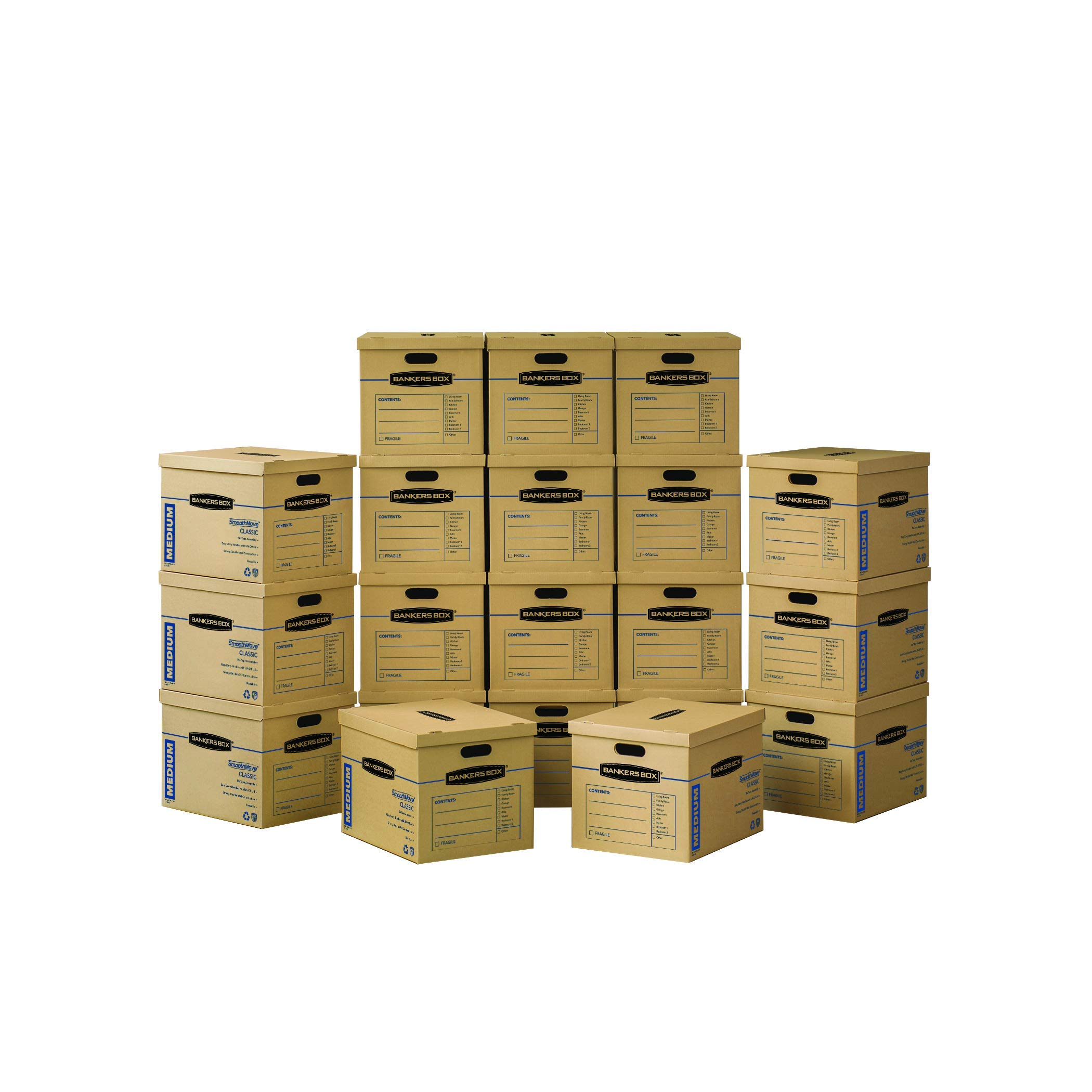 Bankers Box SmoothMove Classic Moving Boxes, Tape-Free Assembly, Easy Carry Handles, Medium, 18 x 15 x 14 Inches, 20 Pack (8817202) by Bankers Box