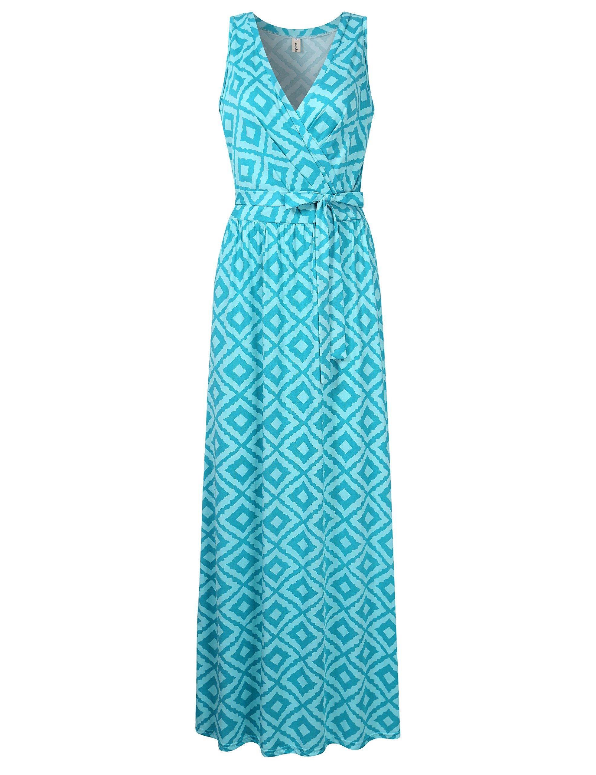 Leadingstar Women's Bohemian Sleeveless V Neck Wrap Long Maxi Summer Dress Green Rhombus XL