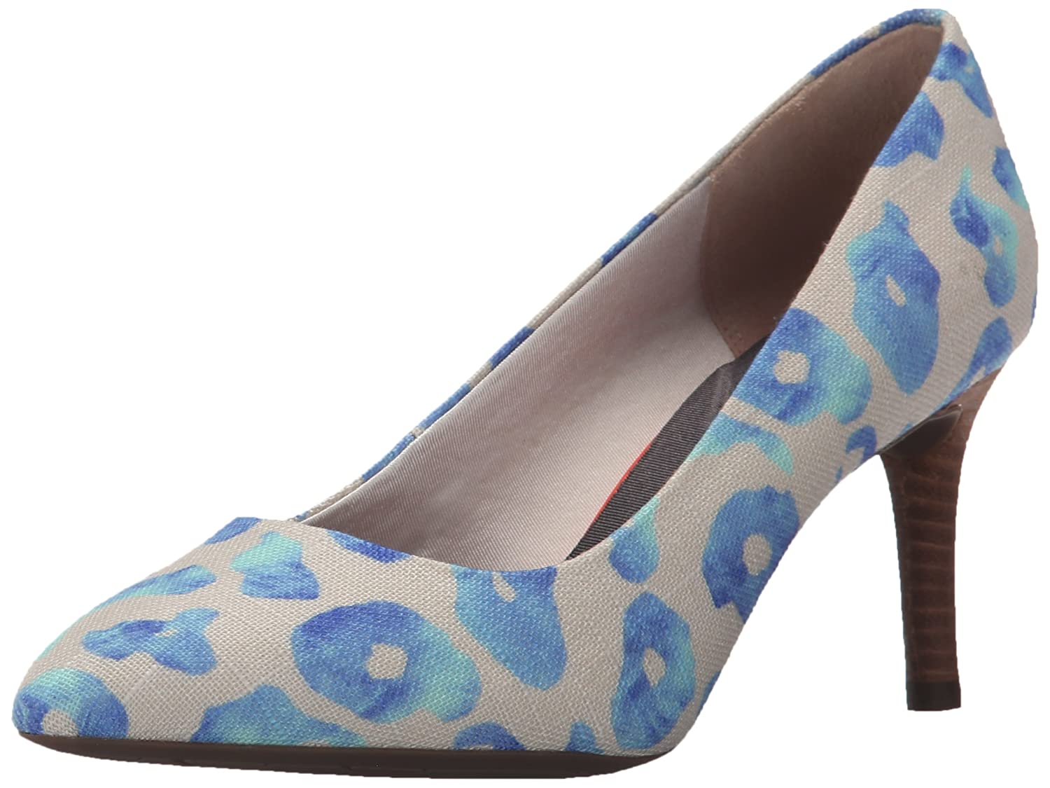 Blau Leopard Canvas Rockport Total Motion 75mm Spitzpumpe, Light Gold Python, 36 W EU Damen