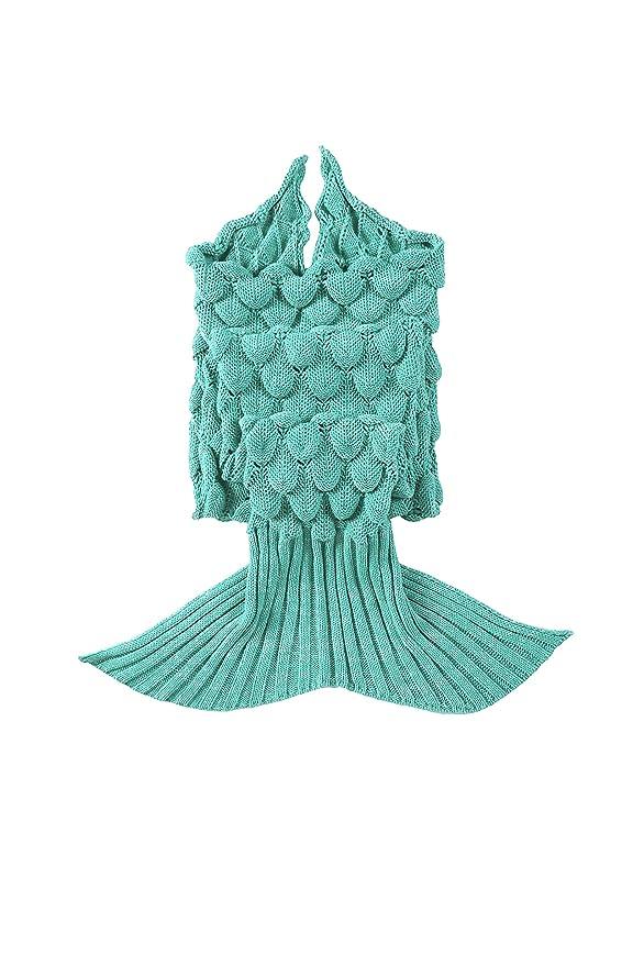 Manta lingvi con cola de sirena, de ganchillo, saco de dormir, hecho a mano, regalo para niños: Amazon.es: Hogar
