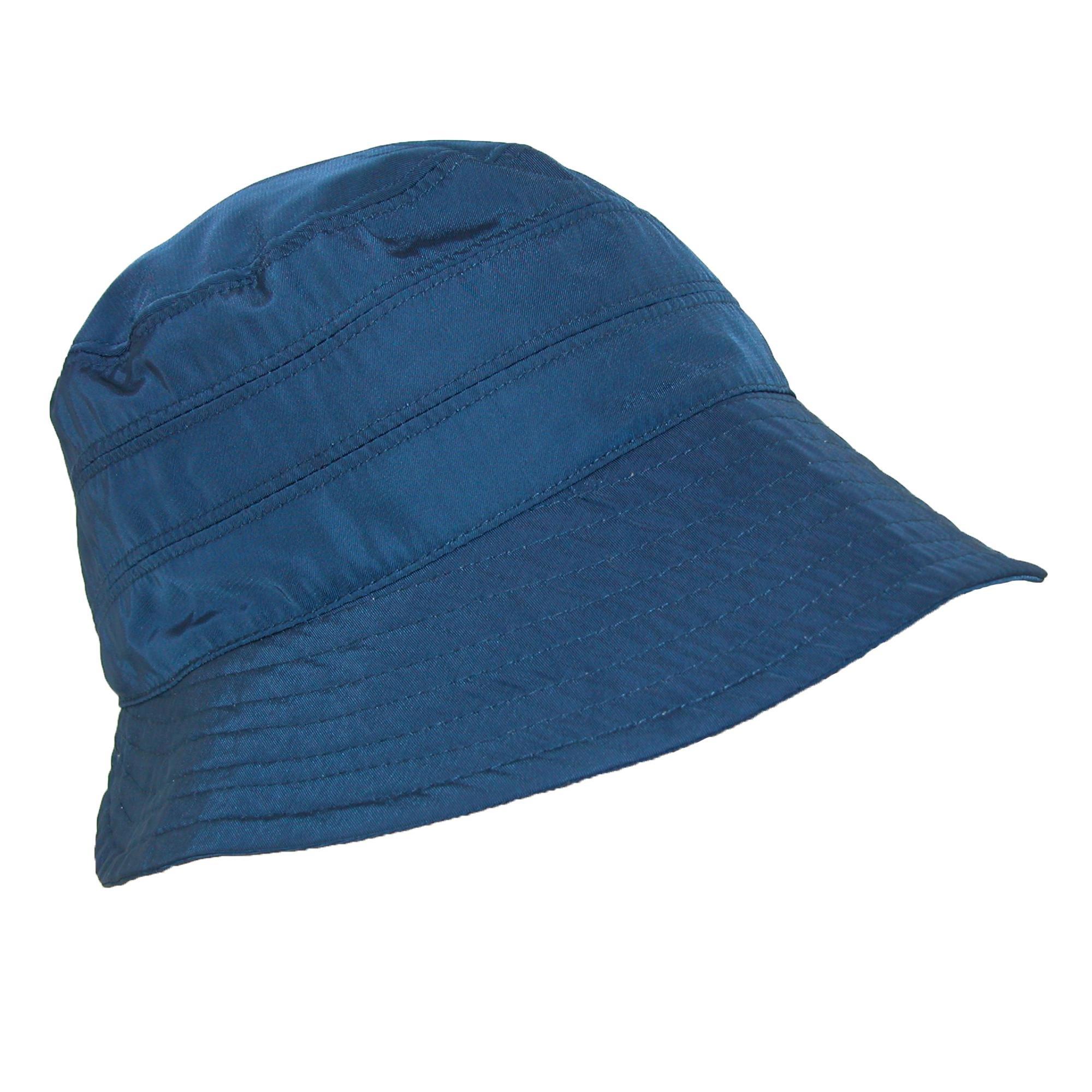 Scala Classico Women's Nylon Waterproof 3 Inch Brim Lined Rain Hat, Navy