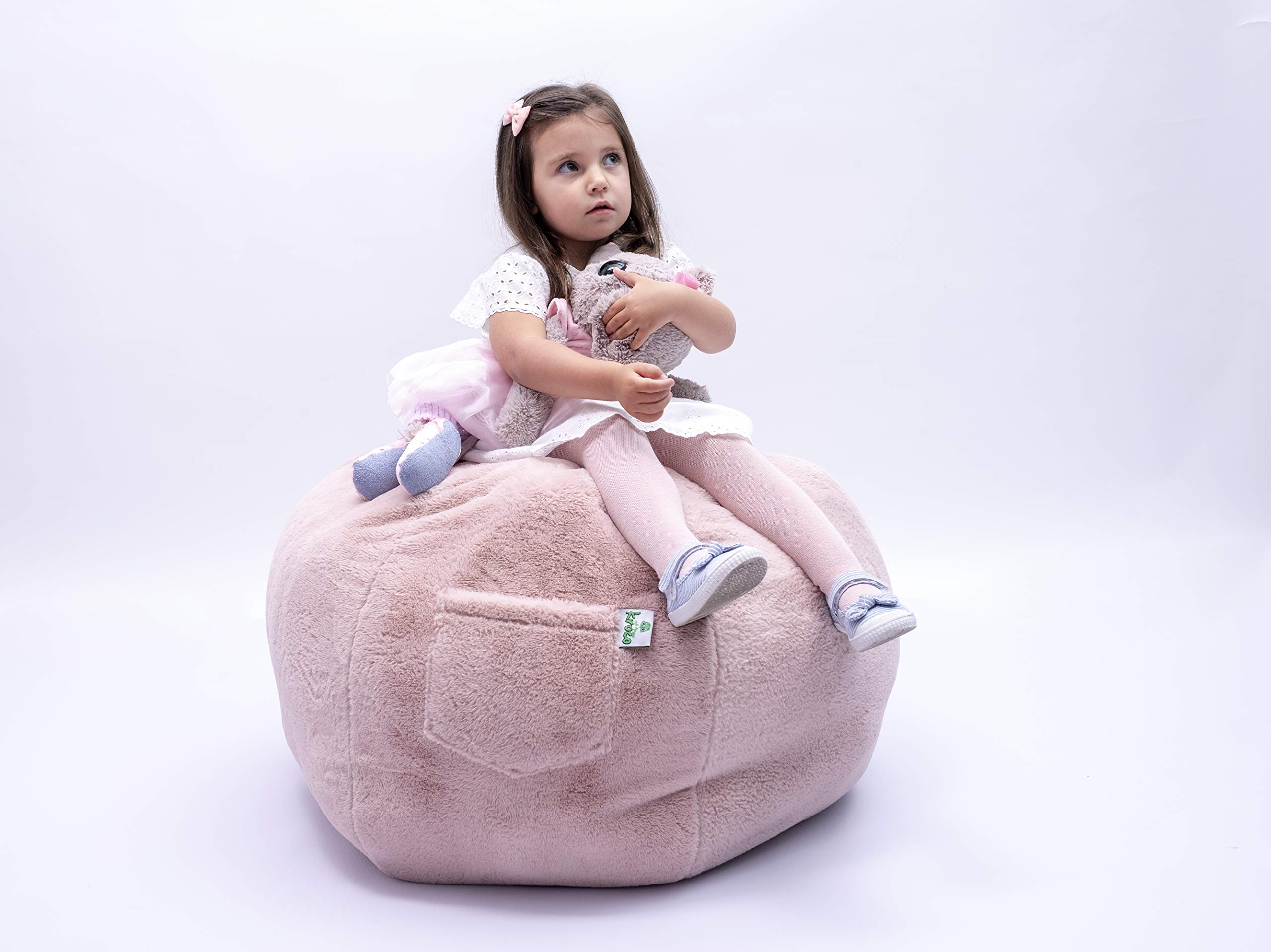 Kroco Luxury Edition Stuffed Animal Storage Bean Bag Cover - Toy Storage Beanbag - Stuffing Bean Bag for Kids - Super Soft Plush Faux Bean Bag Storage - Replace Toys Mesh Toys Hammock Net - 38´´Pink by Kroco