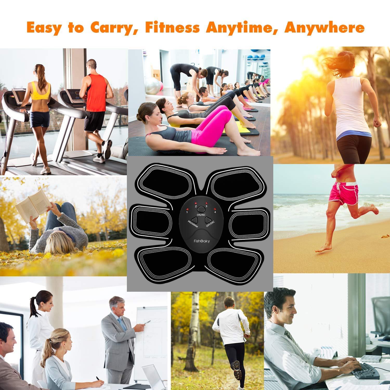 E/ñectro Estimulador Abdominal EMS Trainer para Abdomen//Brazo//Piernas//Cintura para Hombres y Mujeres Estimulador Muscular Abdominales FishOaky EMS Electroestimulador Muscular Abdominales