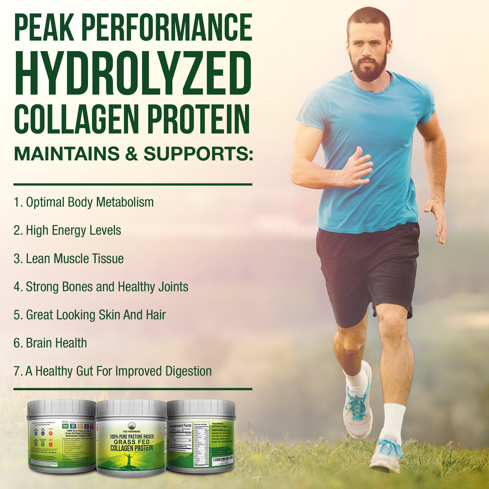Pure Pasture Raised Grass Fed Hydrolyzed Collagen Protein by Peak Performance. Paleo Friendly, Gluten & Dairy Free Collagen Peptides (Unflavored Collagen) by Peak Performance Coffee (Image #7)