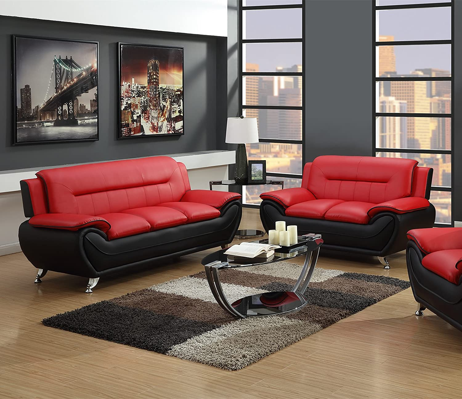 GTU Furniture Contemporary Bonded Leather Sofa & Loveseat Set (Sofa and  Loveseat, Red and Black)