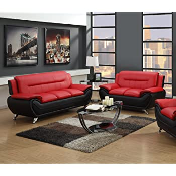 Superbe GTU Furniture Contemporary Bonded Leather Sofa U0026 Loveseat Set (Sofa And  Loveseat, Red And Black)