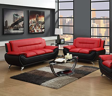 Stupendous Gtu Furniture Contemporary Bonded Leather Sofa Loveseat Set Sofa And Loveseat Red And Black Gmtry Best Dining Table And Chair Ideas Images Gmtryco