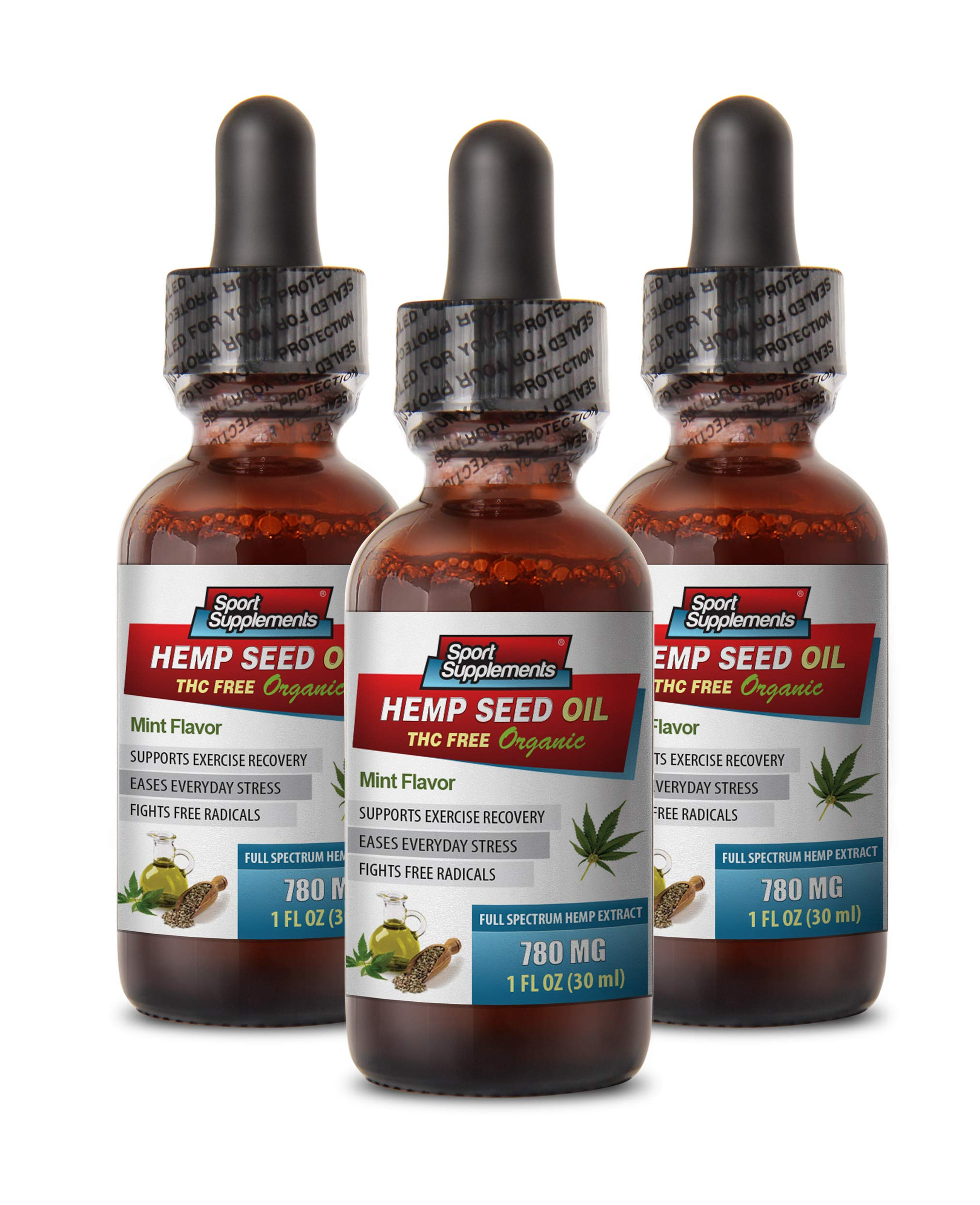 Joint Pain Relief Supplements - Hemp Seed Oil Drops Organic 780 mg - Mint Flavor - Hemp Oil Drops Organic - 3 Bottles 3 FL OZ (90 ML)