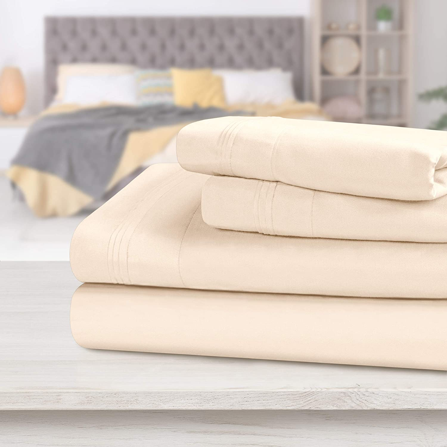 Luxurious Bedding Collection 1200 TC Egyptian Cotton US Sizes Ivory Solid