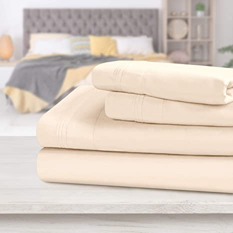 4-Piece Luxury Home 1200 Count Egyptian Cotton Gold Solid Sheet Sets