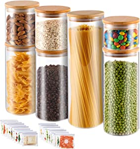 Glass Food Storage Jars, Kitchen Food Container Jar With Bamboo Lids set of 7, Canisters For Serving Sugar, Cookies and Other Food Storage