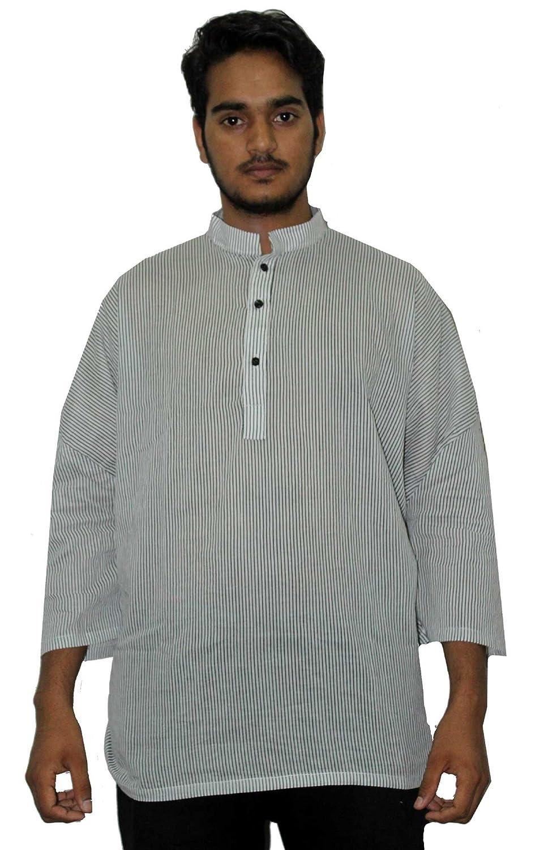 Lakkar Haveli Indian Strip Print Kurta 100/% Cotton Man/'s Shirt Plus Size Loose fit White /&Grey Color Strip Print