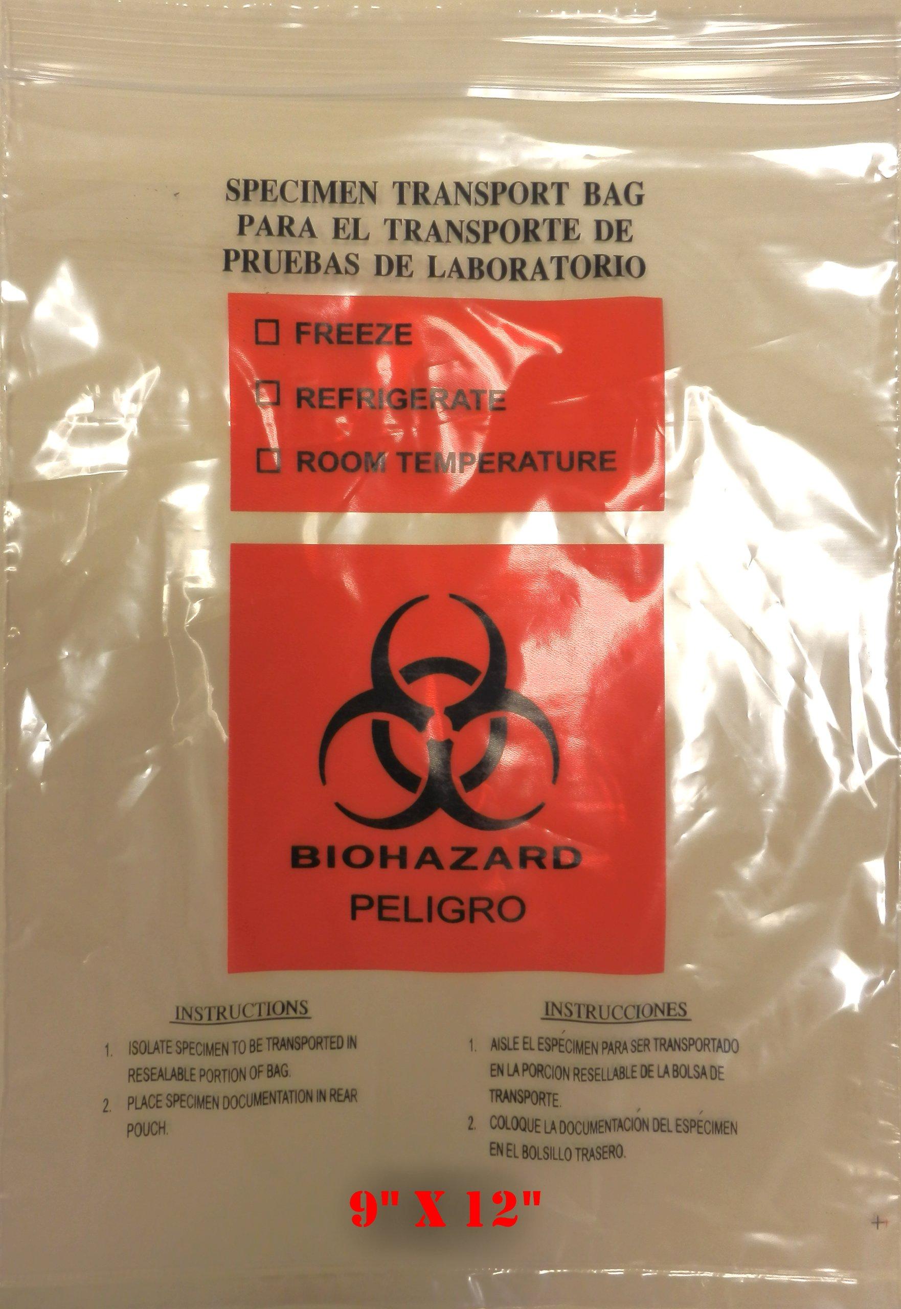 SNL Quality Biohazard 'Double Pocket' Specimen Zip Lock Style Bags - 9'' X 12'' (Pack of 100 Bags)