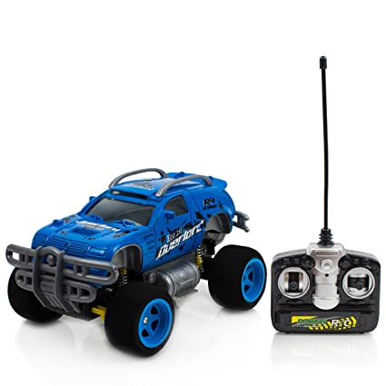 Battery Operated 4 Turbo Monster Truck Radio Control Blue Toy Car, 27mhz Supersensitive remote control