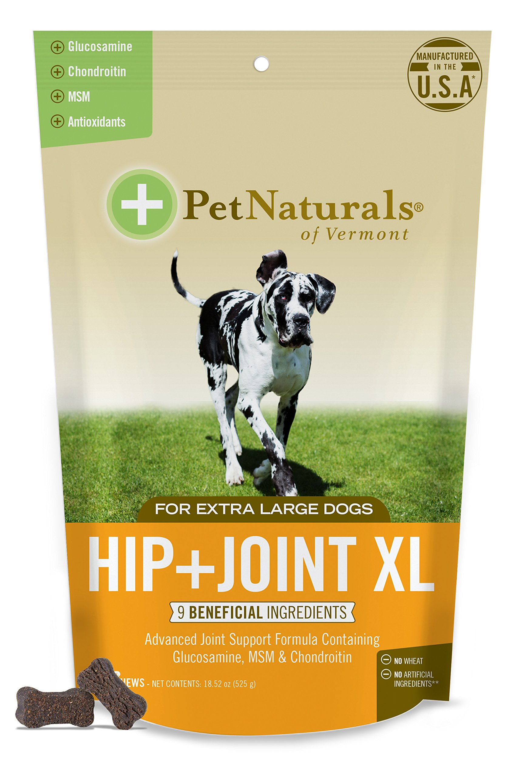 Pet Naturals of Vermont - Hip + Joint XL, Joint Supplement for Large Dogs, 75 Bite-Sized Chews