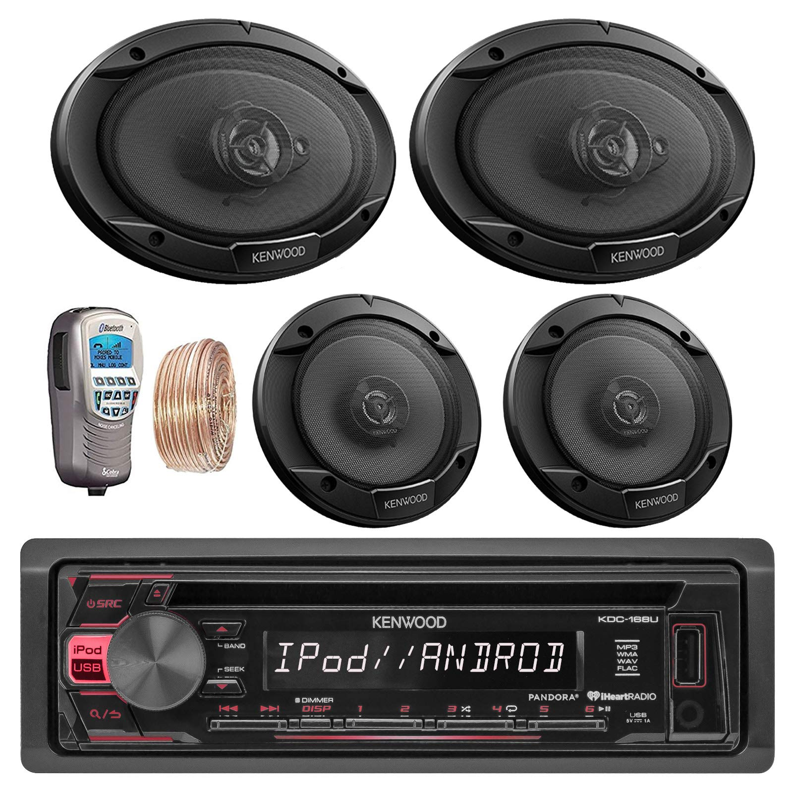 Kenwood Car In Dash CD MP3 AM/FM AUX USB Radio Stereo Receiver & Remote 2 X 6.5'' Inch Car Speakers 2 X 6x9'' 6 by 9 Inch Kenwood Car Speakers + 50Ft Speaker Wire + Handheld Remote (Without Amplifier)