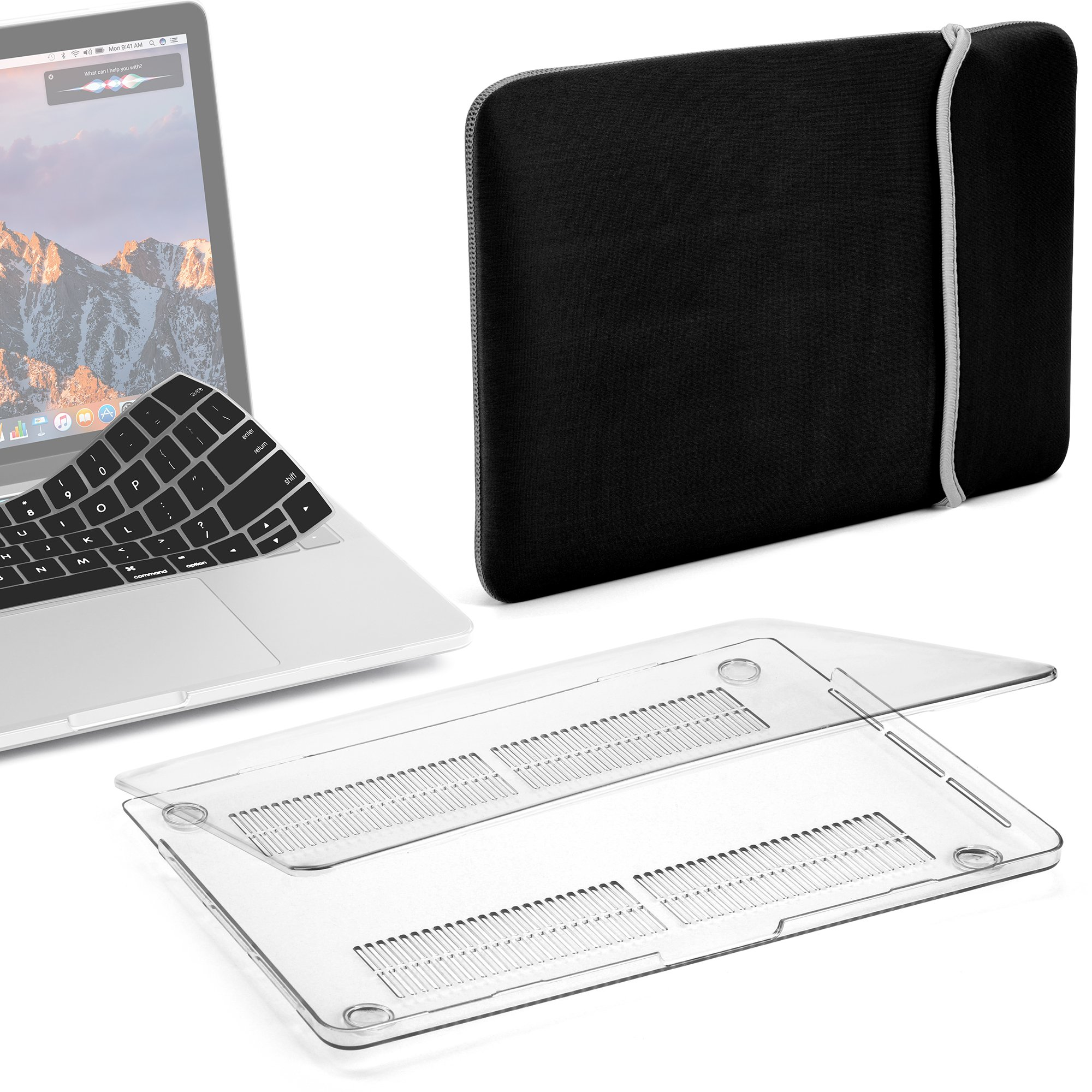 GMYLE MacBook Pro 13 Case with/Without Touch Bar 2018 2017 2016 Release A1989/A1706/A1708, Plastic Hard Shell & with Keyboard Cover & Lycra Sleeve Compatible Newest Mac Pro 13 Inch, Clear Transparent